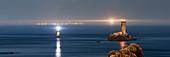 France, Finistere, Iroise, Sizun point, Plogoff, Pointe du Raz, Night lights over the Raz de Sein area, Great National Site