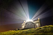 France, Finistere, Cap Sizun, Pointe du Millier, Millier lighthouse rays in the night, Great National Location