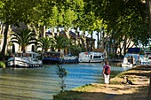 France, Aude, Salleles d'Aude, a small town on the Junction Canal that connects the Canal du Midi to Canal de la Robine listed as World Heritage by UNESCO