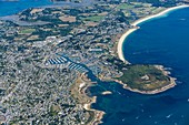 France, Morbihan, Arzon, Le Crouesty marina and the Petit Mont (aerial view)