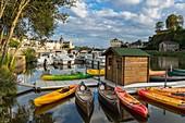 France, Mayenne, Chateau Gontier, the banks of Mayenne river, marina
