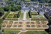 France, Sarthe, Le Grand Luce, the castle ans its gardens (aerial view)