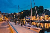 France, Cotes d'Armor, Dinan, Dinan harbor along Rance river and the viaduct