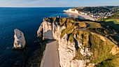 France, Seine Maritime, Caux, Alabaster Coast, Etretat, the Aval cliff, the Arch and the Aiguille (Needle) d'Aval (aerial view)