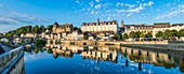 France, Mayenne, Laval, the banks of Mayenne river, the medieval Old Castle and the Renaissance New Castle