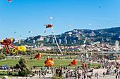 France, Bouches du Rhone, Marseille, Prado Beach, Wind Festival, Kites