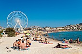 France, Bouches du Rhone, Marseille, the Prado beaches, the Borely beach and the Big Wheel