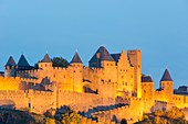 France, Aude, Pays Cathare, Carcassone, medieval district listed as World Heritage by UNESCO, the ramparts from the Aude western gate