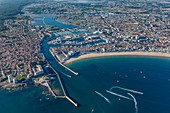 France, Vendee, Les Sables d'Olonne, the channel and the bay (aerial view)