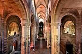 France, Haute Loire, Brioude, Basilica of Saint Julien, the nave