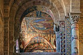 France, Haute Loire, Brioude, Basilica of Saint Julien, frescoes in Saint Michel chapel