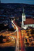 Light trail on street at night, Bratislava, Slovakia