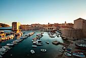 Boats moored in harbour, Dubrovnik, Croatia