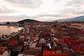 View of old town at dusk, Split, Croatia