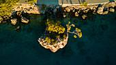 Aerial view of trees growing on rocky island, Brela, Croatia