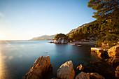 View of coast against sky during sunset, Brela, Croatia
