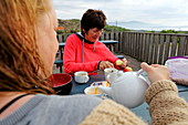 Breakfast on the terrace of the hostel on the Isle of Harris, The Hebrides