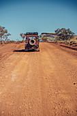 Off-road vehicle in Karijini National Park in Western Australia, Australia, Oceania;
