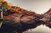 Sunset in the Hamersley Gorge in Karijini National Park in Western Australia, Australia, Oceania;