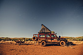 Camping at full moon night over the Pilbara in Western Australia, Australia, Oceania;