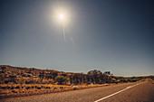 Full moon rising over the Pilbara in Western Australia, Australia, Oceania;