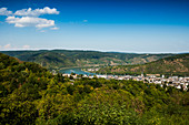 View of Boppard and Rhine, Boppard, Upper Middle Rhine Valley, Rhineland-Palatinate, Germany