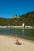 Katz Castle and sandy beach on the Rhine, St. Goarshausen, Upper Middle Rhine Valley, Rhineland-Palatinate, Germany