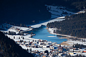 Pillersee and Ortisei village from above in winter, Wilder Kaiser Tirol