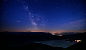 Walchensee with Milky Way from Jochberg at night with stars