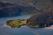 Walchensee with dwarf peninsula in the morning sun from above, Bavaria