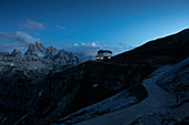 Auronzo hut at night in the Three Peaks Natural Park in the Dolomites, South Tyrol