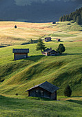 Huts at the Alpe di Siusi in the Dolomites in autumn, South Tyrol