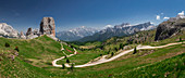 Cinque Torri with hiking trails in the Dolomites by day with sun, South Tyrol