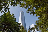 Blick auf einen Turm des One World Trade Center durch Bäume, der das Denkmal des 11. September 2001 ziert, Finanzbezirk, Manhattan, New York City, New York, Vereinigte Staaten, USA