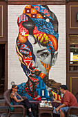 MURAL PAINTED IN 2013 BY THE STREET ARTIST TRISTAN EATON REPRESENTING THE ACTRESS AUDREY HEPBURN ON A WALL IN LITTLE ITALY, LOWER MANHATTAN, NEW YORK CITY, NEW YORK, UNITED STATES, USA