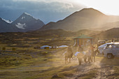 RIDERS NEAR A BORDER POST AT SUNSET, YURT AND THE ALTAI MOUNTAINS IN THE BACKGROUND, BAYAN-OLGII PROVINCE, MONGOLIA
