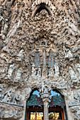 DOOR OF THE CHARITY REPRESENTING THE VISITATION, THE SAGRADA FAMILIA BASILICA, TEMPLE EXPIATORI, BARCELONA, CATALONIA, SPAIN