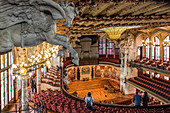 PEGASUS ABOVE THE SECOND BALCONY, STAGE OF THE CONCERT ROOM, PALAU DE LA MUSICA CATALANA (PALACE OF CATALAN MUSIC), ARCHITECT DOMENECH I MONTANER, BARCELONA, CATALONIA, SPAIN