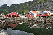 TRADITIONAL RED-PAINTED WOODEN HOUSES, THE NORWEGIAN FISHING VILLAGE MUSEUM (NORSK FISKEVAERSMUSEUM), LOFOTEN ISLANDS, NORWAY