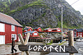 TRADITIONAL RED-PAINTED WOODEN HOUSES, THE NORWEGIAN FISHING VILLAGE MUSEUM (NORSK FISKEVAERSMUSEUM), LOFOTEN ISLANDS, NORWAY