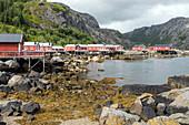 TRADITIONAL FISHERMEN'S HOUSES OF RED-PAINTED WOOD, NUSFJORD, VESTFJORD, LOFOTEN ISLANDS, NORWAY