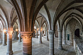 THE 13TH CENTURY KNIGHTS' HALL, ABBEY OF MONT-SAINT-MICHEL (50), FRANCE