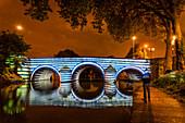 METAMORPHíEAUíSES, LIGHT SHOW, PONT DES MARINIERS BRIDGE, CHALONS EN CHAMPAGNE, MARNE, GRAND EST REGION, FRANCE