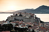 View from the citadel on Calvi at sunrise, Corsica, France.