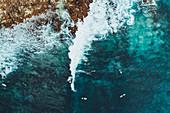 Surfers at South Point, Gracetown near Margaret River, Western Australia, Australia, Oceania
