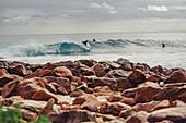 Surfers at Rocky Point, Dunsbrough near Margaret River, Western Australia, Australia, Oceania