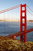 View of the Golden Gate Bridge from the Marin Headlands, San Francisco, California, USA