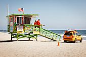 Lifeguards on Santa Monica Beach, Los Angeles, California, USA