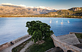 View from the Citadelle in Calvi to the Bay of Calvi, Corsica, France