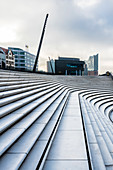 The steps of the promenade at the port of Hamburg with the Elbphilharmonie in the background, Neustadt, Hamburg, Germany
